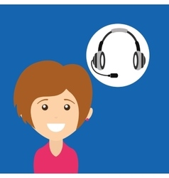 Girl smiling headphones for support vector