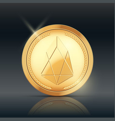 Gold coin with eos cryptocurrency sign vector