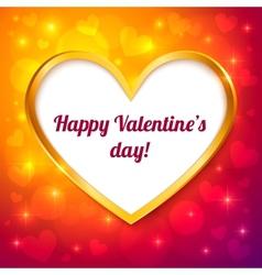 golden frame valentines greeting card vector image