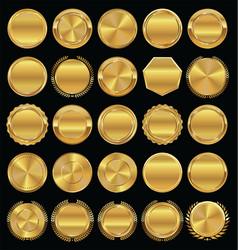 Golden retro badges and laurel wreaths collection vector