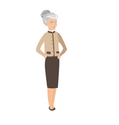 Gray senior caucasian business woman laughing vector