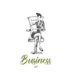 Hand drawn business lady on chair with lettering vector image