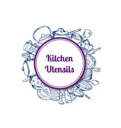 hand drawn kitchen utensils circle vector image