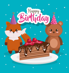 Happy birthday card with fox and bear vector