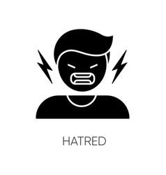 hatred black glyph icon vector image