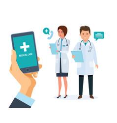 healthcare mobile service mobile consultant vector image