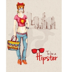 Hipster girl city vector image