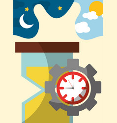hour glass clock gear work time vector image