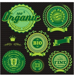 Icons emblems environmentally pure nutrition vector