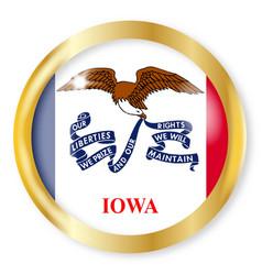 iowa flag button vector image
