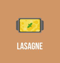 Lasagne logo italian cuisine flat design vector