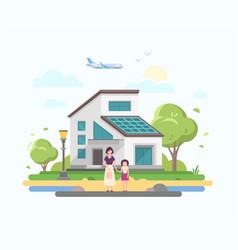 lovely house - modern flat design style vector image