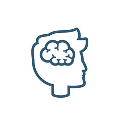 man brain magnifier research line style icon vector image