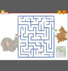 Maze leisure game with elephant vector