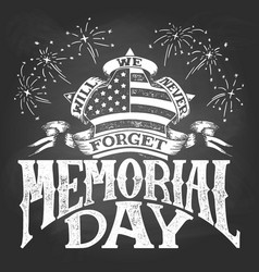 memorial day vintage chalkboard vector image