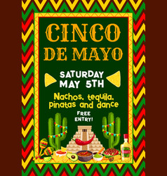 Mexican cinco de mayo party fiesta flyer vector