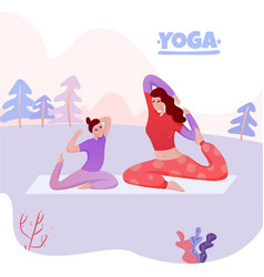 mom daughter yoga vector image