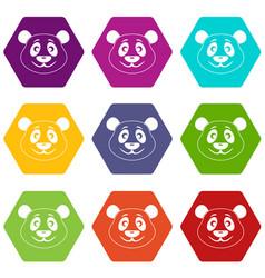panda icon set color hexahedron vector image
