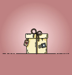 parcel gift box with a stamp flat vector image