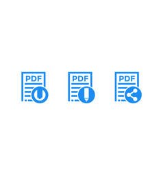 Pdf document download file edit icons vector