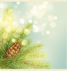 Realistic fir-tree branch with pinecone vector