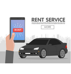 Rent car service online phone booking concept vector