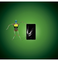 Robot and smartphone vector