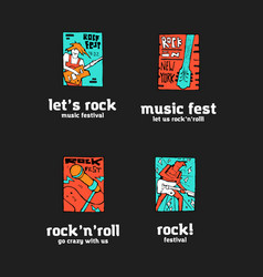 rock music festival logo set vector image