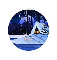 Round sign of winter snowy night landscape with vector