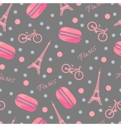 Seamless pattern with tasty macaroons Eiffel vector image