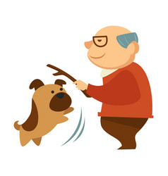 senior man playing with mop canine pet holding vector image