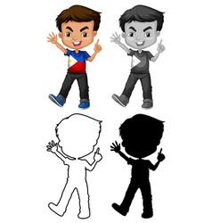 Set filipino boy character vector