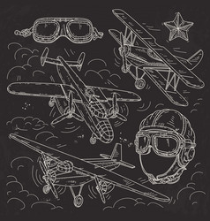 Set icons retro old aircraft pilot helmet and vector