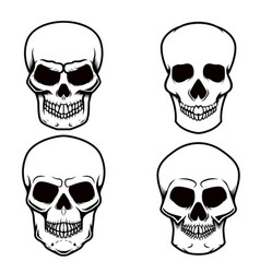 set of skull on white background design element vector image