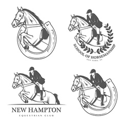 Set of vintage equestrian labels and badges vector