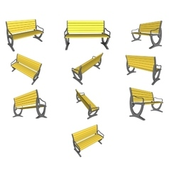 Set Wooden bench on white vector