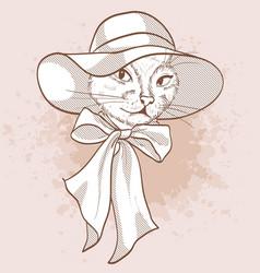 sketch of elegant cat vector image