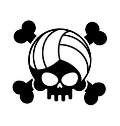 Skull volleyball ball is head of skeleton emblem vector