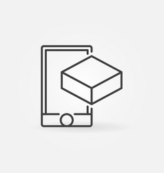 Smartphone with cube linear icon ar symbol vector