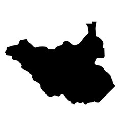 south sudan - solid black silhouette map of vector image