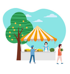 street food fruits market talls canopy seller and vector image