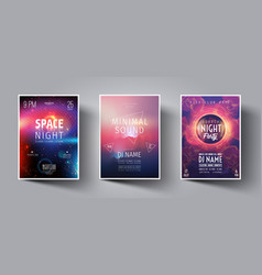 Summer night club party flyer or poster layout vector