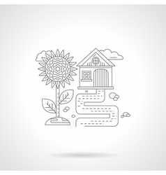 Sunflower detail line icon vector image