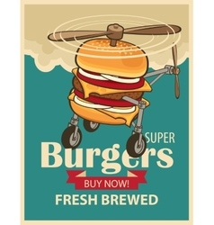 Super burger helicopter vector