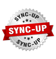 Sync-up round isolated silver badge vector