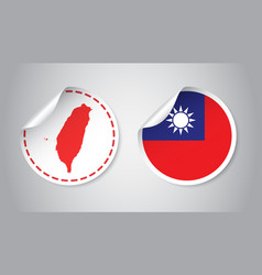 taiwan sticker with flag and map label round tag vector image