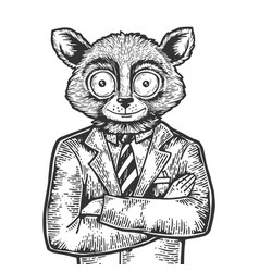 tarsier businessman sketch engraving vector image