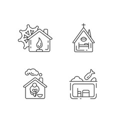 Temporary supportive housing linear icons set vector