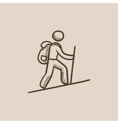Tourist backpacker sketch icon vector
