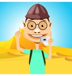 traveler in glasses standing near pyramids vector image